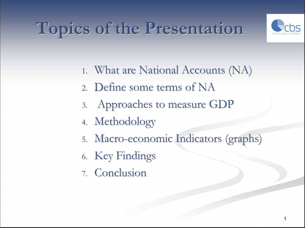 Presentations National Account of Aruba 2007